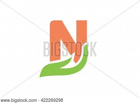 N Letter Logo With Hand Concept. N Logo Design