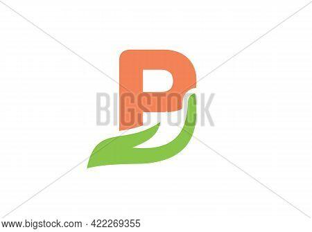 P Letter Logo With Hand Concept. P Logo Design
