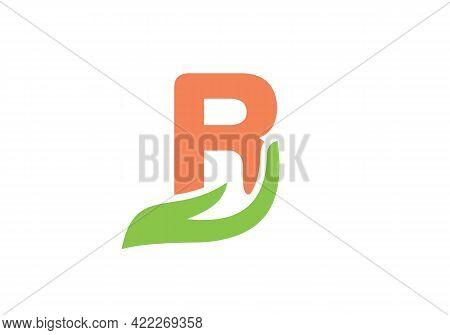 R Letter Logo With Hand Concept. R Logo Design