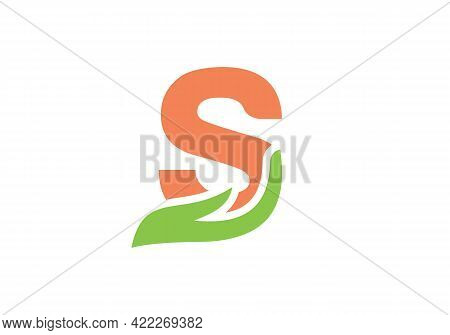 S Letter Logo With Hand Concept. S Logo Design