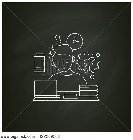Fatigue Chalk Icon.tired Person. Too Many Tasks. Work Overload. Need Rest. Procrastination Concept.