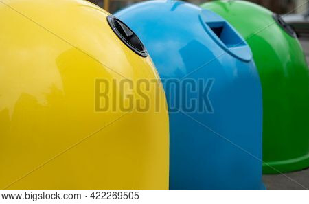 Waste Sorting. Closeup Of Colorful Garbage Containers For Different Sort Of Materials