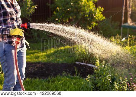 Female Hands Holding Garden Water Hose Wearing Colorful Wellies Watering Garden
