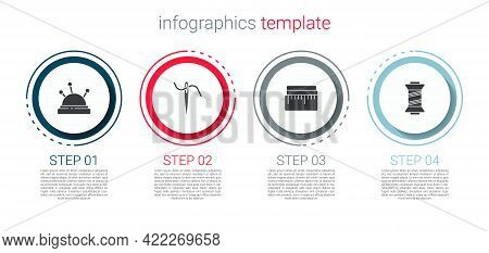 Set Needle Bed And Needles, For Sewing With Thread, Tape Measure And Sewing. Business Infographic Te