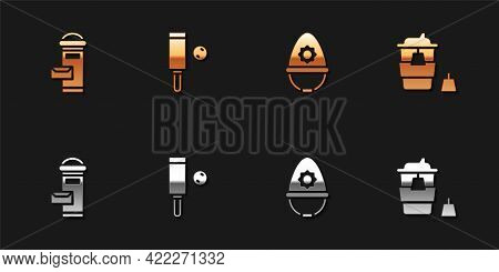 Set London Mail Box, Wood Cricket Bat And Ball, British Police Helmet And Coffee Cup To Go Icon. Vec