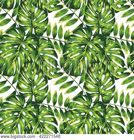 Beautiful Tropical Leaves Pattern, Great Design For Any Purposes. Trendy Vector Style. Summer Tropic
