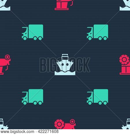 Set Tractor, Cargo Ship And Delivery Cargo Truck On Seamless Pattern. Vector