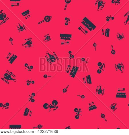 Set Bicycle, Speed Limit Traffic, Helicopter And Boat With Oars On Seamless Pattern. Vector