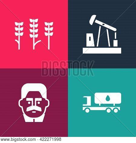 Set Pop Art Tanker Truck, Joseph Stalin, Oil Pump Or Pump Jack And Wheat Icon. Vector