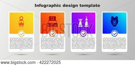 Set Russian Doll Matryoshka, Mausoleum Of Lenin, Chess And Bear Head. Business Infographic Template.
