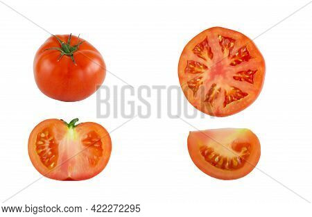 Tomatoes Isolated On A White Background. Tomato Whole, Cut, Half, Slice. Tomato Set.