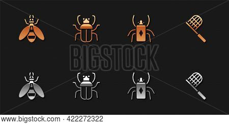 Set Bee, Stink Bug, Beetle And Butterfly Net Icon. Vector