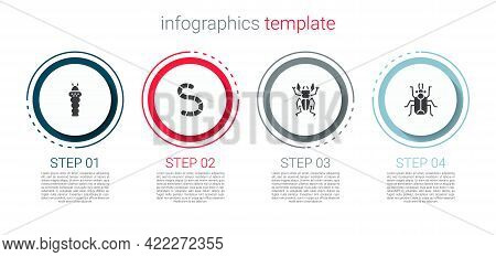 Set Larva Insect, Worm, Beetle Deer And Bug. Business Infographic Template. Vector