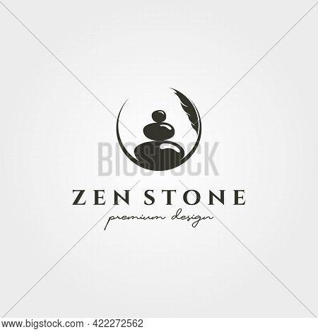 Zen Stone Silhouette Logo Vector Symbol Illustration Design, Creative Stone Stack Circle Logo
