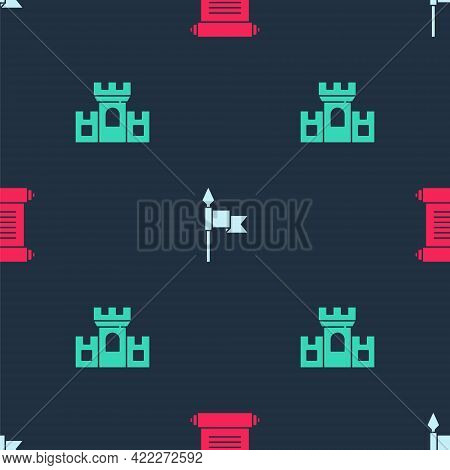 Set Decree, Parchment, Scroll, Medieval Spear And Castle, Fortress On Seamless Pattern. Vector