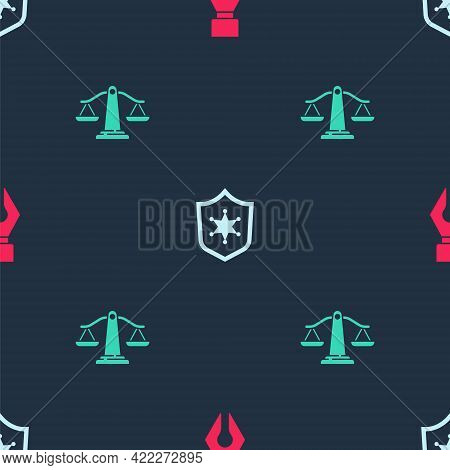 Set Fountain Pen Nib, Police Badge And Scales Of Justice On Seamless Pattern. Vector
