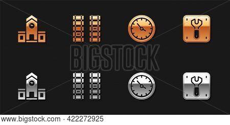 Set Railway Station, Railway, Railroad Track, Train Clock And Repair Of Railway Icon. Vector