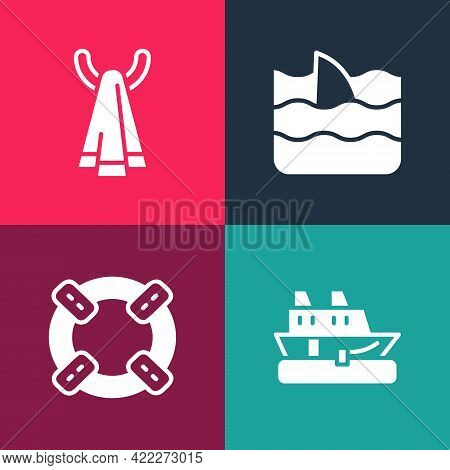 Set Pop Art Cruise Ship, Lifebuoy, Shark Fin In Ocean Wave And Towel On Hanger Icon. Vector