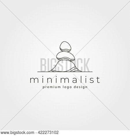 Line Art Stone Vector Logo Symbol Minimalist Illustration Design, Stone Stack Logo Design
