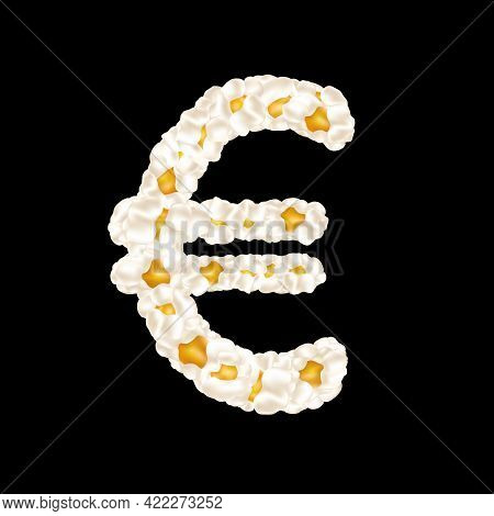 The Euro Sign Made Up Of Airy Popcorn. Vector Illustration.