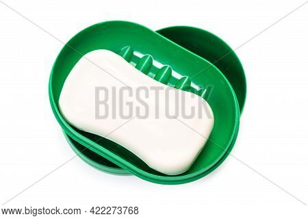 Travel Soap In Plastic Soap Dish Isolated On White Background