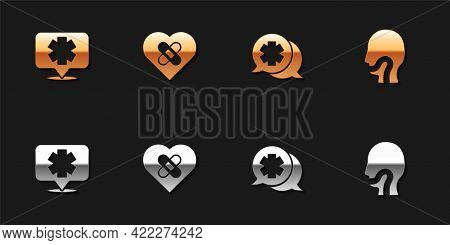 Set Medical Symbol Of The Emergency, Healed Broken Heart, Dialogue With Doctor And Sore Throat Icon.