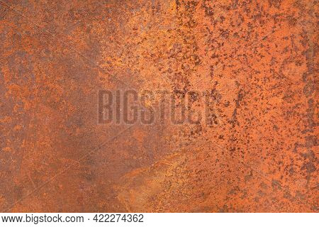 Texture Of An Old Metal Surface Coated With A Layered Orange Rust. Corrosion Of Metals Caused By Wat