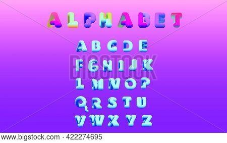 English Alphabet In A Modern 3d Style. Creative Vector Font Design. Creative Set Of Three-dimensiona