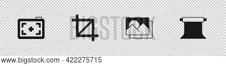 Set Photo Camera, Picture Crop Photo, Frame And Empty Studio Icon. Vector