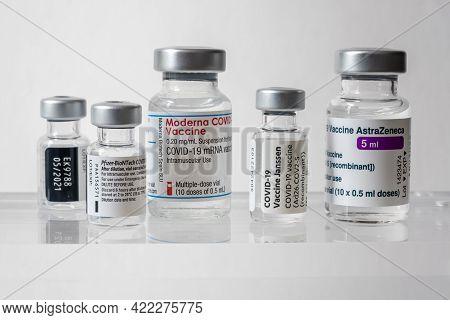 Montreal, Ca - 31 May 2021: Vials Of Astrazeneca, Pfizer Biontech, Janssen And Moderna Covid-19 Vacc