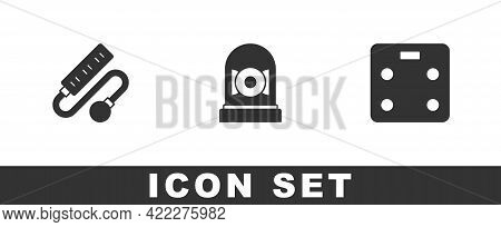 Set Electric Extension Cord, Ringing Alarm Bell And Smart Bathroom Scales Icon. Vector