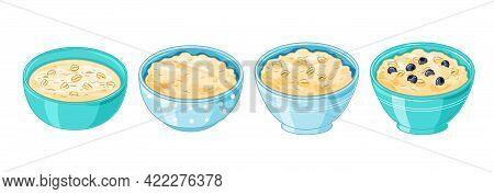 Oatmeal Porridge. Plates Of Oats Boiled Porridge And Healthy Food. Vector Cooking Oatmeal Seeds Bowl