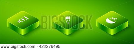 Set Isometric Electrical Hair Clipper, Washbasin And Cream Cosmetic Tube Icon. Vector
