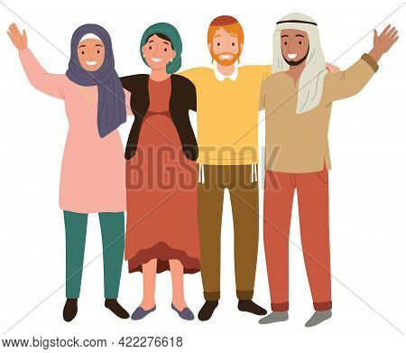 Muslim And Jewish People Being Friends. Concept Of Coexistence Between Arabs And Jews And Peace In T