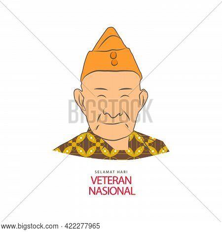 Hari Veteran Nasional With Batik Clotihing Isolated On White Background