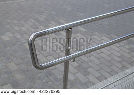 Stainless Steel Railing On The City Street. Long-lasting Railing.