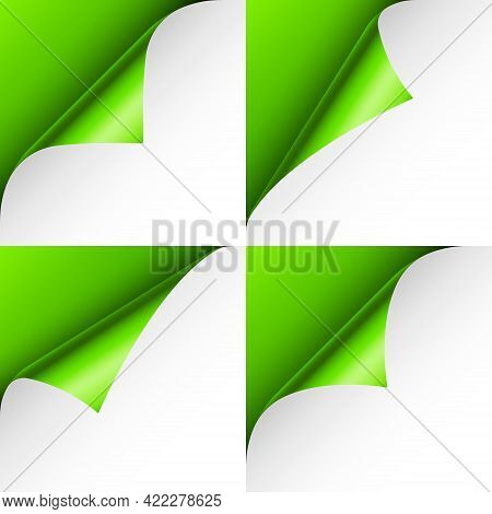 Set Of Green Paper Curls. Curled Page Corner With Shadow. Blank Sheet Of Paper. Colorful Shiny Foil.