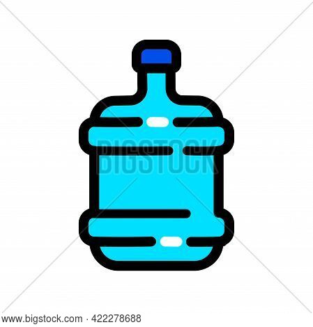 Plastic Water Bottle Color Simple Icon. Clean Spring Or Purified Water. Vector Illustration Simple D