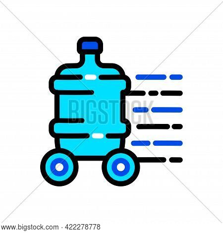 Plastic Water Bottle Color Simple Icon. Clean Spring Or Purified Water. Logo For Water Delivery Serv