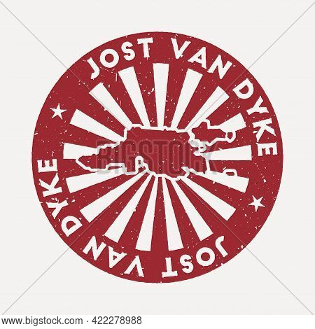 Jost Van Dyke Stamp. Travel Red Rubber Stamp With The Map Of Island, Vector Illustration. Can Be Use