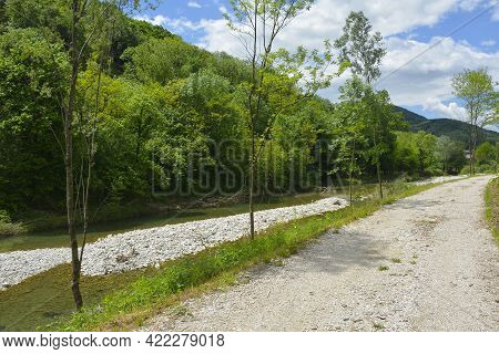 The Late May Landscape Near The Torrente Cosizza River Close To The Village Of Cemur In Udine Provin
