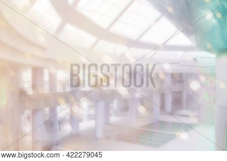 Office Blurred Background In Rainbow Palette And Defocused For Presentation, Blurred Background For