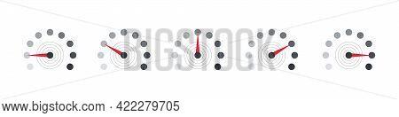 Rating Customer Satisfaction Meter. Scale Low, Medium Or High Gauge Or Meter Indicator. Vector Illus