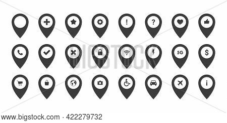 Pointer Icons Set. Marker Icons With Different Signs. Location Or Navigation Signs. Map Pin Icon. Ve