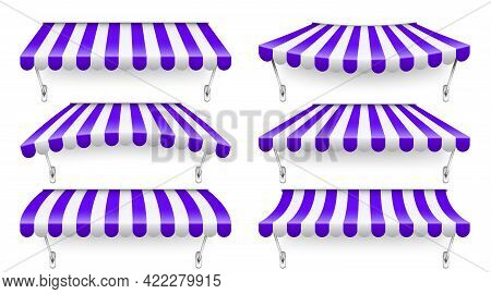 Shop Sunshade With Metal Mount. Realistic Violet Striped Cafe Awning. Outdoor Market Tent. Roof Cano