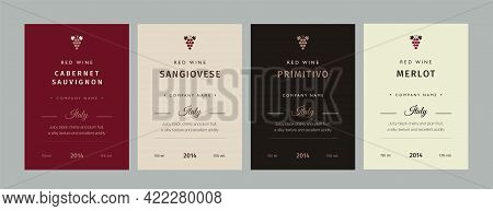 Red And White Wine Label. Special Collection Best Quality Grape Varieties And Premium Wine Brand Nam