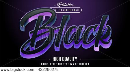 Editable Text Style Effect - Black Text Style Theme. Graphic Design Element.