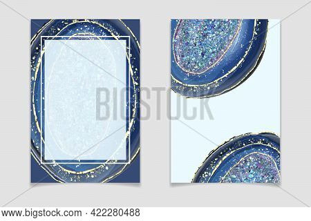 Blue Crystal Geode Background With Glitter And Gold Cracks. Hand Drawn Watercolor Teal Amethyst. Spa