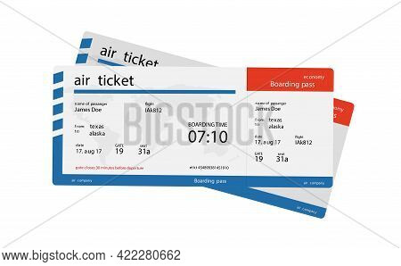 Airline Boarding Pass Ticket. Concept Template For Travel, Business Trip Or Journey.