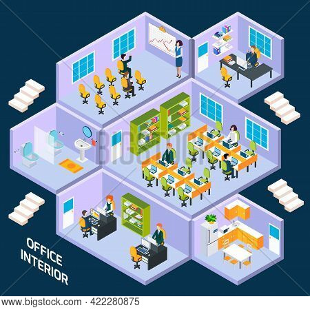 Office Isometric Interior With Conference Room, Reception Working Space Vector Illustration